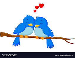 cartoon blue bird in love royalty free