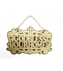 wooden wall hanging cross bless our home carving on it with chain for