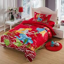 the little mermaid bedding set twin size kids girls toddler cartoon red quilt duvet cover bed in a bag sheet bedspreads cotton bedding supplies bedding gift