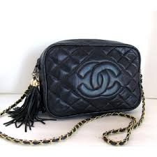 Vintage Chanel Style CC Logo Quilted Gold Chain Huge Double ... & Vintage Chanel Style CC Logo Quilted Gold Chain Huge Double Tassel Bag Navy  Blue Adamdwight.com