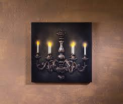 french chandelier radiance lighted canvas wall art with flickering candle light
