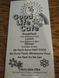 Cover Of Their Menu Picture Of Good Life Cafe Mammoth