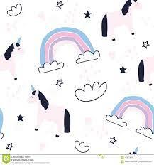 Cute Unicorns And Rainbows Seamless ...