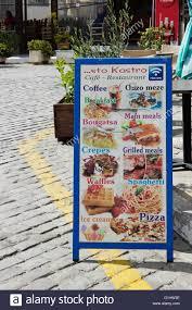 Menu Display Stands Restaurant CafeRestaurant sto Kastro street menu stand display Myrina's 36