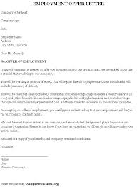 Sample Employment Offer Letter Template Best Photos Of Job Offer Letter From Employer Template