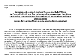 compare and contrast the two romeo and juliet films by franco  document image preview