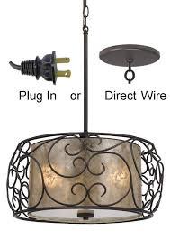 mica bronze iron drum pendant light plug in lamp shade pro regarding attractive home chandelier plug in prepare