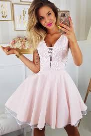 Light Pink Short Tight Dress Appliqued A Line Homecoming Dresses V Neck Short Dress In