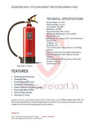 Ceasefire Hcfc 123 Clean Agent Gas Based Fire Extinguisher