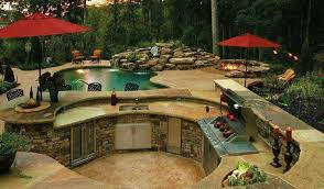 Outdoor Kitchen Designs With Pool Custom Decorating Design