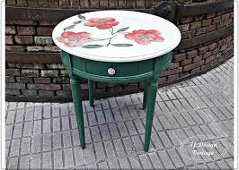round coffee table woodpainted green