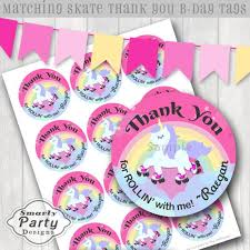 Unicorn Roller Skate Birthday Party Invitations Rainbow   Etsy