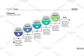 Five Steps To Goal Process Chart Design Info Graphic