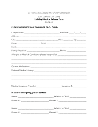 Consent Form Enchanting Additional Camper Liability Medical Release Form Parental Consent