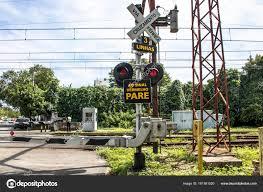 Sao Paulo Red Light Sao Paulo Brazil March 2017 Level Crossing Street Railroad