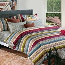 details about 4pc blue green brown multicolor fine striped 220tc cotton sateen duvet set queen