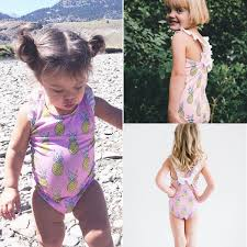 Details About 2019 Kids Baby Girl Swimwear Pineapple Beach Jumpsuit Swimsuit  Swimming Costumes