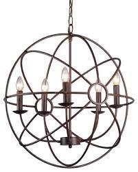 abbyson living chandler 5 light orb chandelier brown