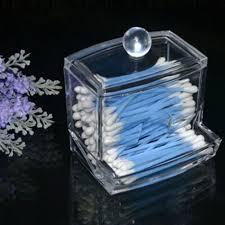 Storage Box Clear Acrylic Q-tip Holder Box Cotton Swabs Stick Storage Box Cosmetic  Makeup