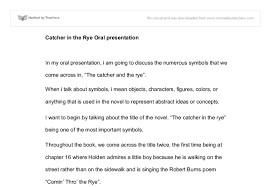 catcher in the rye oral presentation international baccalaureate document image preview