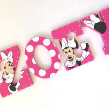 personalized minnie mouse wooden wall letters for nurseries and kids rooms