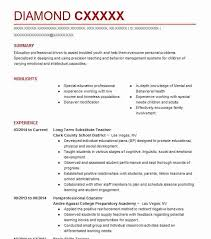 Substitute Teacher Resume Unique Long Term Substitute Teacher Resume Sample LiveCareer