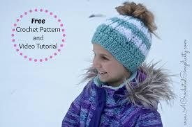 Bun Hat Crochet Pattern Mesmerizing Free Crochet Pattern Crochet Cabled Messy Bun Kids' Sizes Video