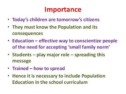 population education importance • today s