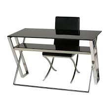 glass stainless steel desk table 74 x 59 x 120
