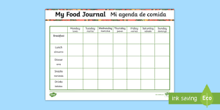eating log my healthy eating food journal activity english spanish