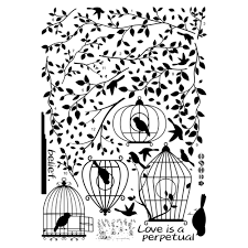 Silhouette Patterns Beauteous Black Bird Cage Leaves Wall Stickers Silhouette Patterns PVC TV