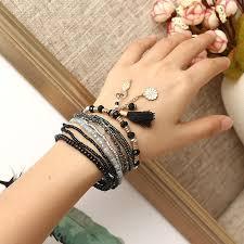 Bohemian <b>Tassel</b> Flower Leaf Pendant Multilayer Beads Bracelets ...