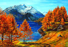 autumn mountains backgrounds. Beautiful Autumn Fall Lake Scenery Painting Beauty Mountains Nature Mountain Forest Image Backgrounds -
