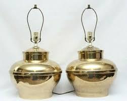 vintage large round brass ginger jar urn table lamp pair