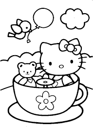 Hello kitty riding bicycle ef46. Hello Kitty In A Tea Cup Coloring Page Hello Kitty Colouring Pages Kitty Coloring Hello Kitty Coloring