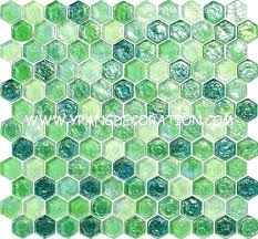green hexagon tile china flesh green water waving glass mosaic tile hexagon decoration entrance supplier blue green hexagon tile