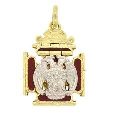 14k gold 32nd degree scottish enamel free mason fancy fob pendant vintage estate