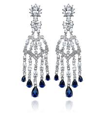 luxury elegant sumptuous sapphire jewelry design of chandelier earrings for gift ideas by crislu jewelry