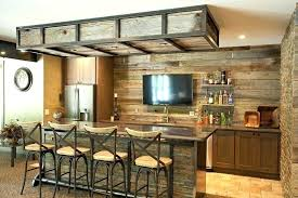 home bar ideas rustic basement with stone wall reclaimed wood recessed lighting diy design
