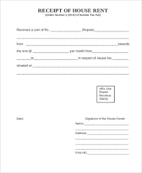 Sample Rent Receipt Form 6 Examples In Word Pdf