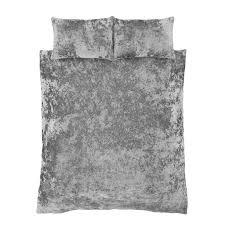 crushed velvet duvet set silver