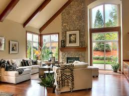 Inspiration for a timeless medium tone wood floor family room remodel with  beige walls, a