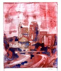 representational abstract watercolor painting on yupo synthetic surface of skyline of downtown raleigh nc at