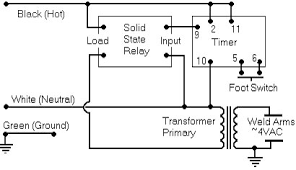 bears spot welder schematic diagram for simplicity i depict the timer control relay as a box the necessary pin numbers depicted use at least 16 guage stranded copper