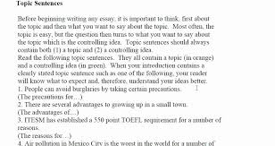 essay writing topic sentence