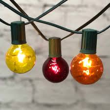 Red Globe String Lights 25 Ft Green C9 String Light With G50 Fall Colored Bulbs