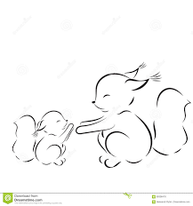 Small Picture Coloring Page Vector Outline Drawing Squirrels Mom And Baby Stock