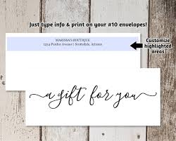 Personalized Gift Certificates Template Free Extraordinary Gift Certificate Envelope Template Printable Business Envelope