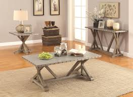 impressing nailhead coffee table in tables rustic industrial style occasional table set co 703748
