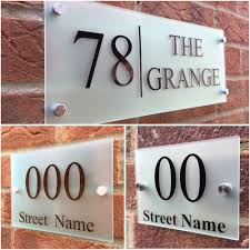 details about modern house sign plaque door number street frosted glass effect acrylic name